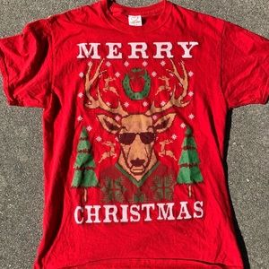 Men's Ugly Christmas Sweater Funny Red T-Shirt M